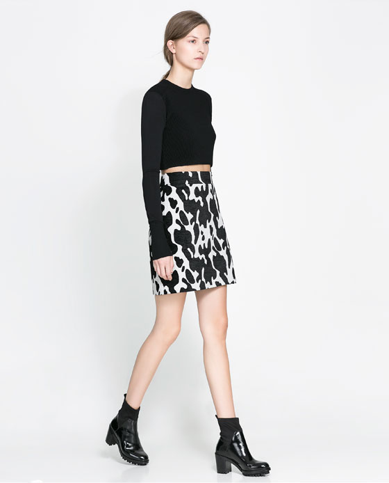 animal printed y cropped top