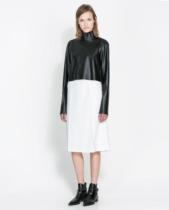 zara falda rodilla negro blanco